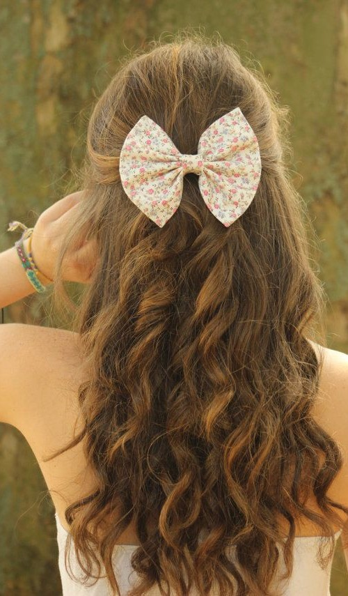 #12 - Bow Curly Half Updo Hairstyle