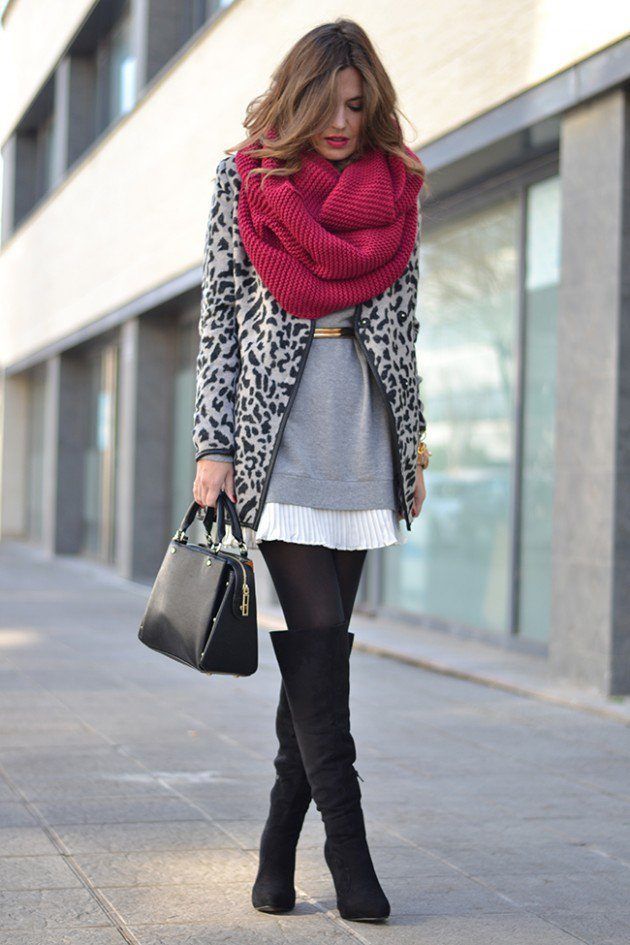 #20- Pair it with a vibrant woolen scarf