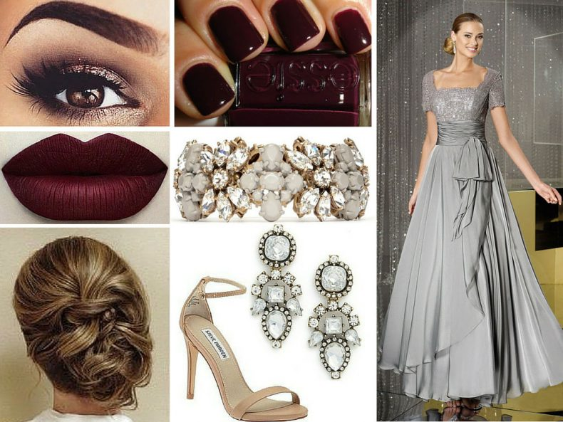 Grey Dress: Any color can be paired with a cool toned dress, like this grey one. We picked wine red for the lips and nails, a warm brown for the eyes, ...