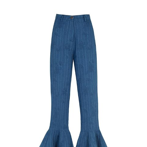 Ruffled Denim Pants