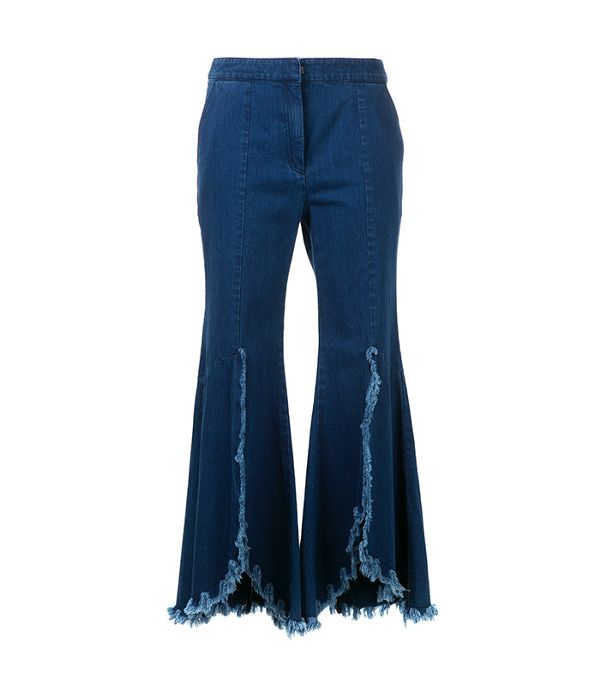 ruffled flared jeans - Geon.J Ruffled Cropped Jeans