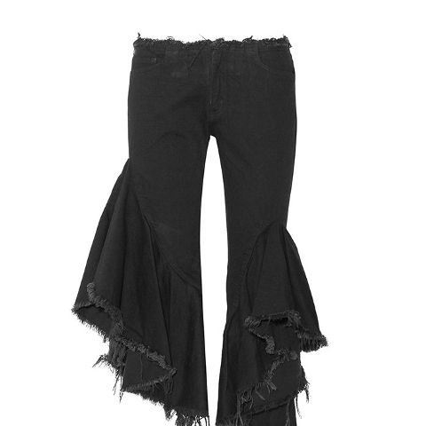Ruffled Frayed Low Rise Flared Jeans