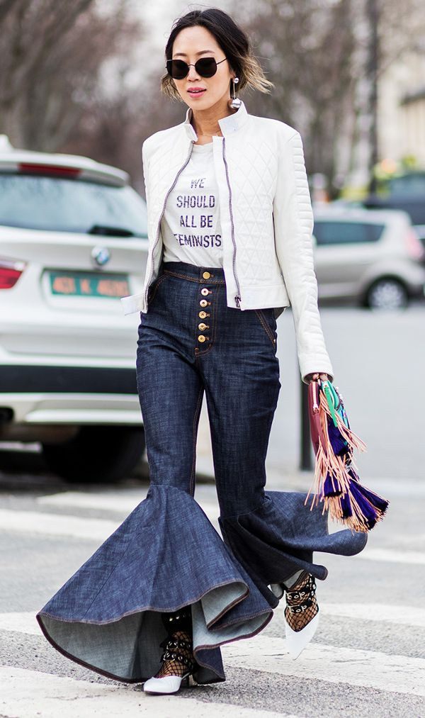 how to wear flared jeans—Aimee Song