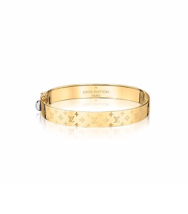 gold statement jewelry—Louis Vuitton Nanogram Cuff