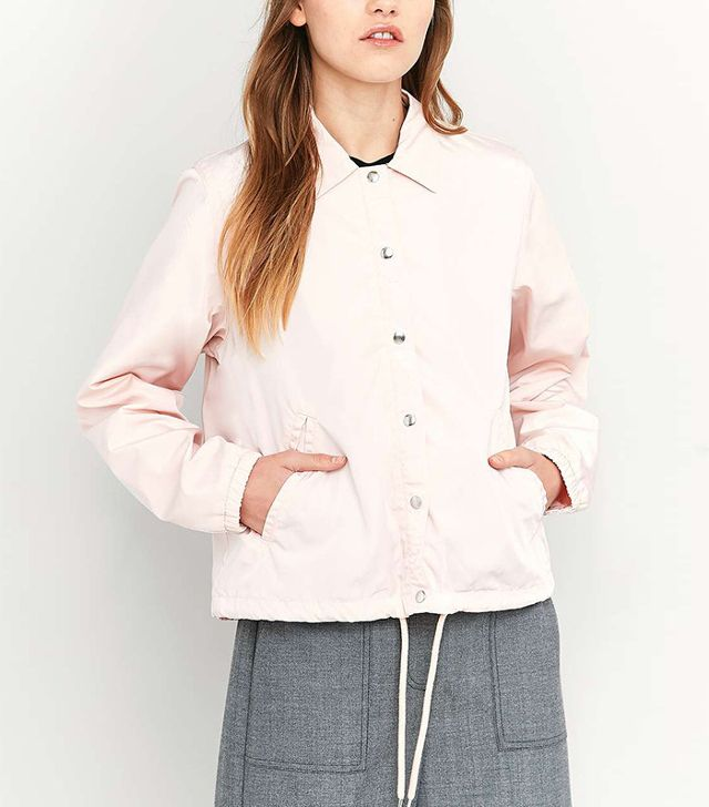 French girl wardrobe - BDG Cropped Pink Coach Jacket