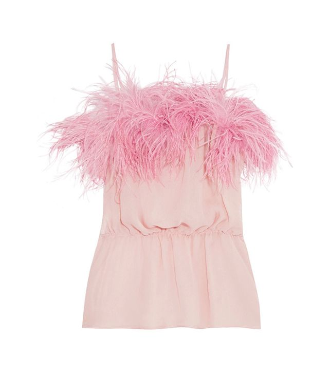 French girl wardrobe - Prada Feather-Trimmed Camisole