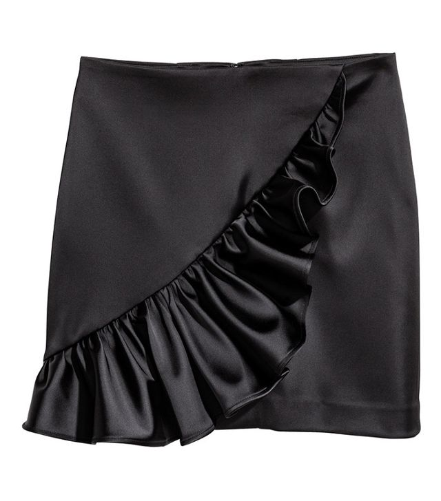H&M Ruffled Satin Skirt