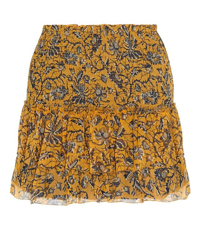 Étoile Isabel Marant Brinley Smocked Printed Silk-Georgette Mini Skirt