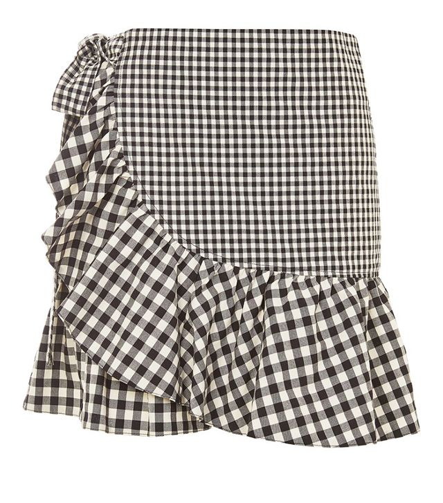 Topshop Gingham Frill Wrap Mini Skirt