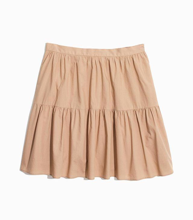 Madewell Khaki Ruffle-Hem Skirt