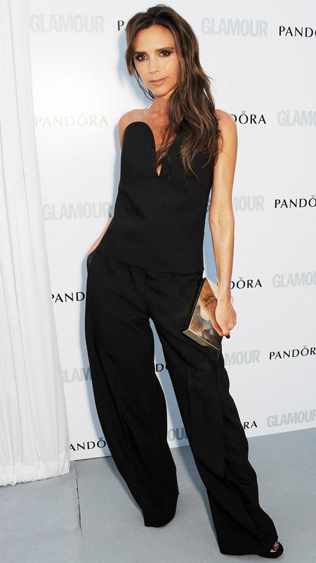 Victoria Beckham in black jumpsuit