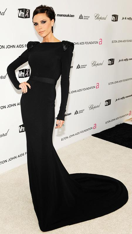 Victoria Beckham arrives at the 17th Annual Elton John AIDS Foundation Oscar party