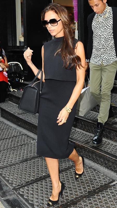 Victoria Beckham wearing black dress