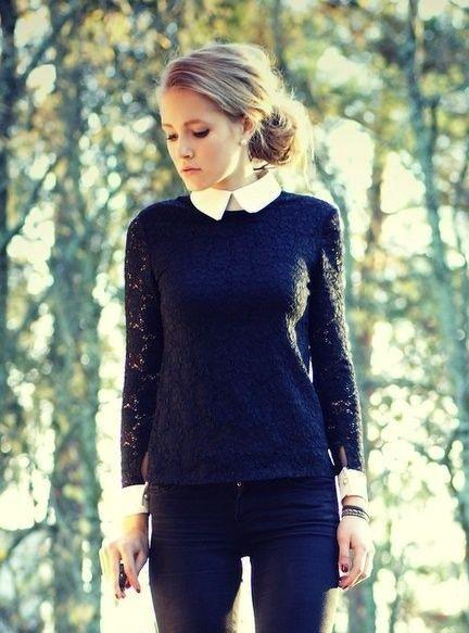 Womens Sweater Over Collared Shirt Fashion Shirts Long Sleeve