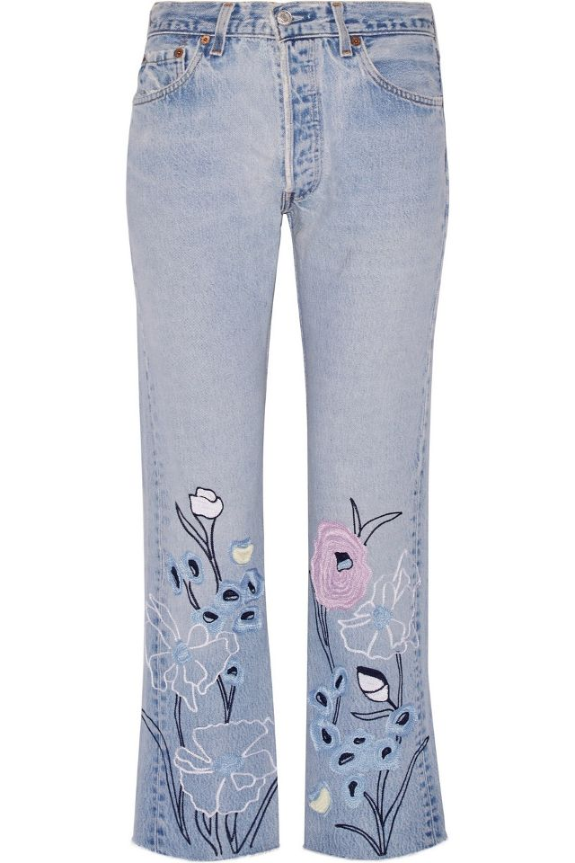 Bliss and Mischief Wild Flower Embroidered High-Rise Straight-Leg Jeans
