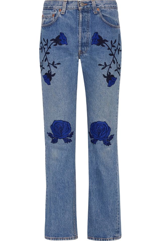 Bliss and Mischief Conjure Embroidered Mid-Rise Straight Leg Jeans