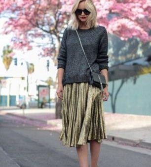gold metallic skirt fall fashion