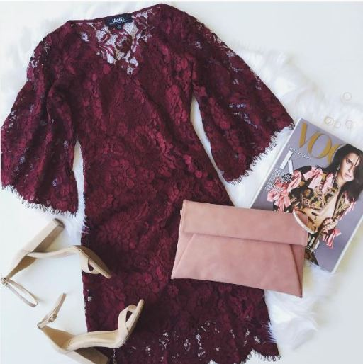 This classic burgundy lace dress is so cute for the holidays!