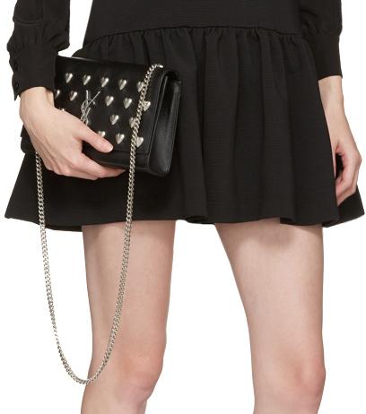 e8e74907acd8c Chic Saint Laurent Heart Studded Monogram Kate Chain Bag - Cheap ...