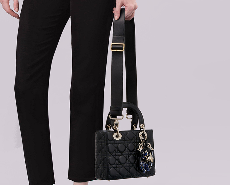 Lady Dior Bag With Embroidered Address Tag