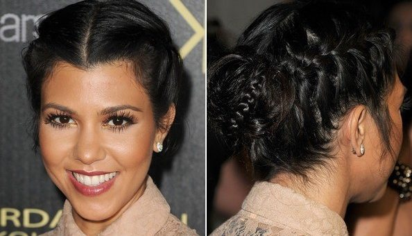 Kourtney Kardashian french braid bun